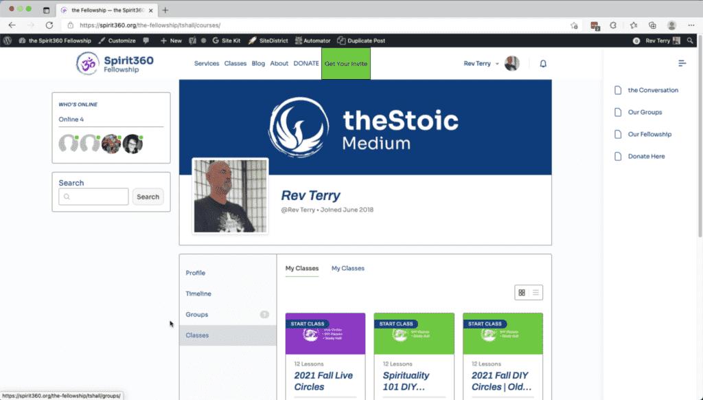 spirit360 fellowship profile page